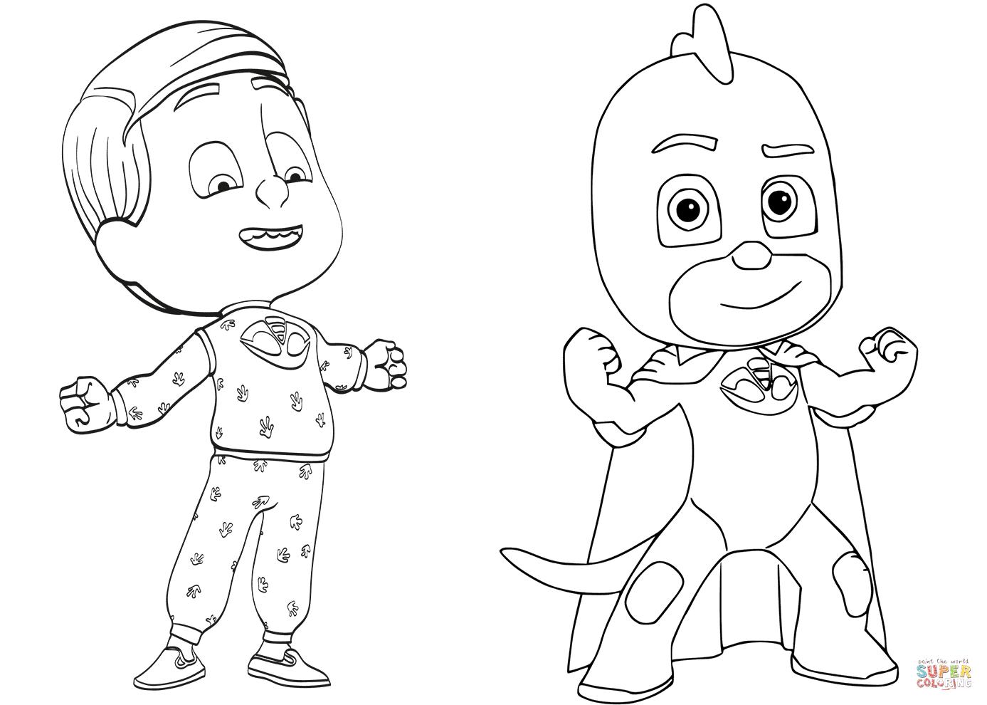 Pajama Hero Greg Is Gekko From Pj Masks Coloring Page
