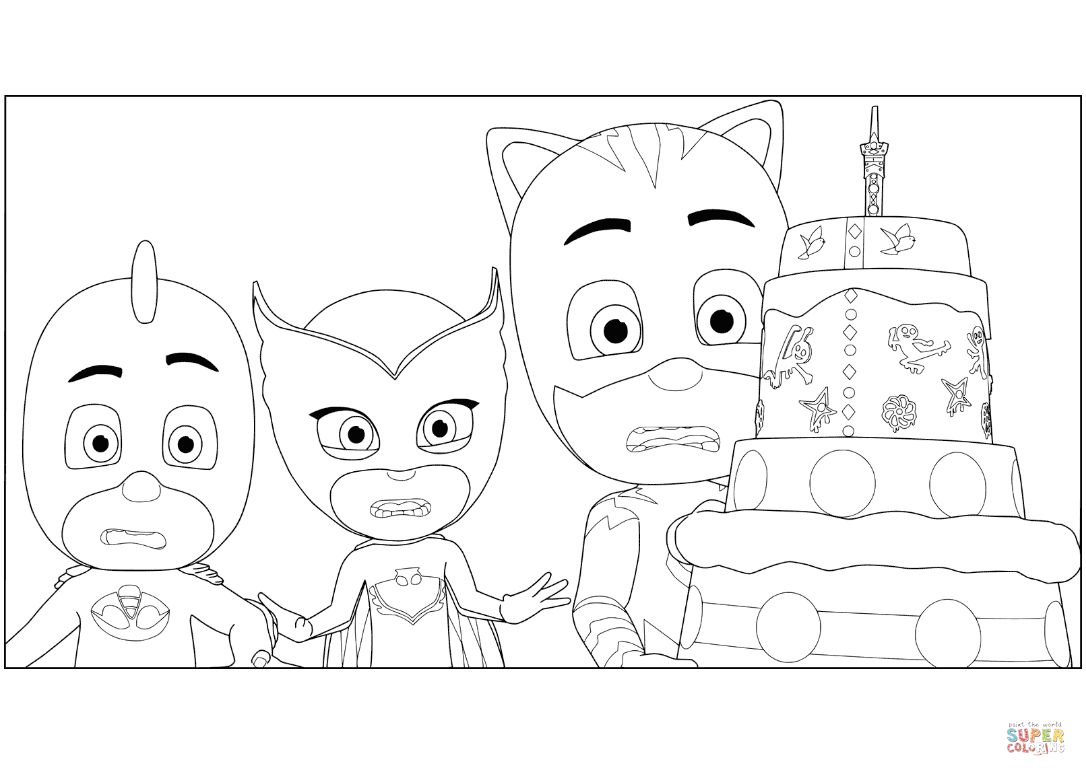 Pj Masks Birthday Cake Coloring Page