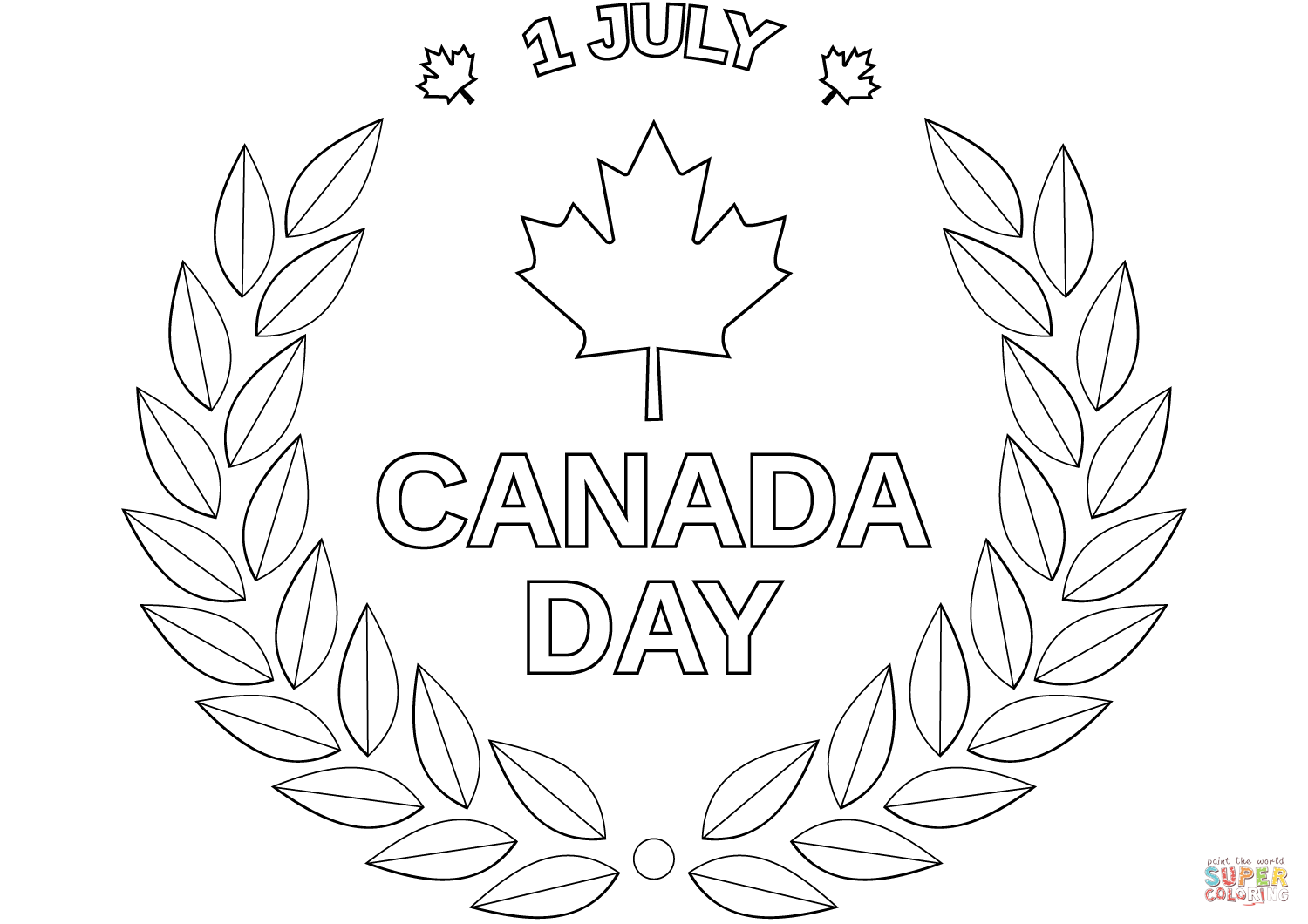 Canada Day Emblem Coloring Page