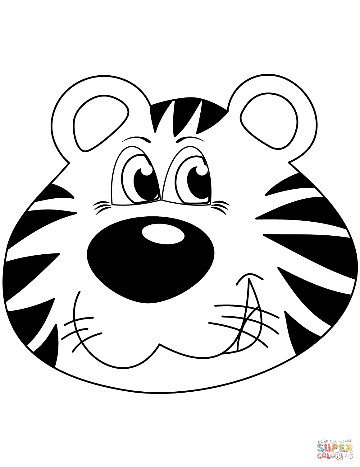 Cartoon Tiger Head Coloring Page