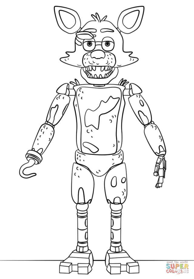 FNAF Toy Foxy coloring page  Free Printable Coloring Pages