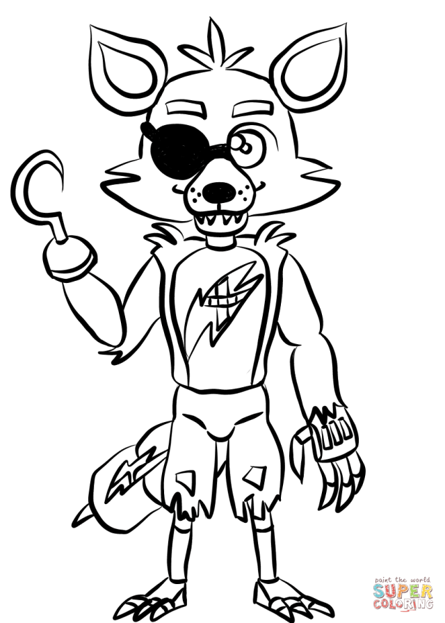 FNAF Foxy coloring page  Free Printable Coloring Pages
