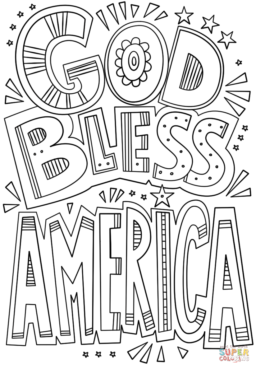 God Bless America Doodle Coloring Page Free Printable Coloring Pages