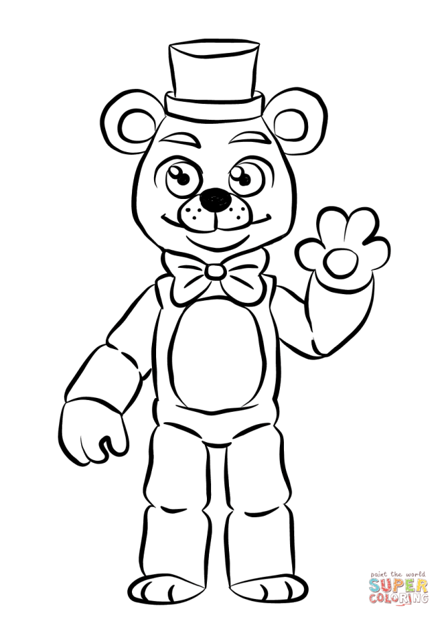 FNAF Golden Freddy coloring page  Free Printable Coloring Pages