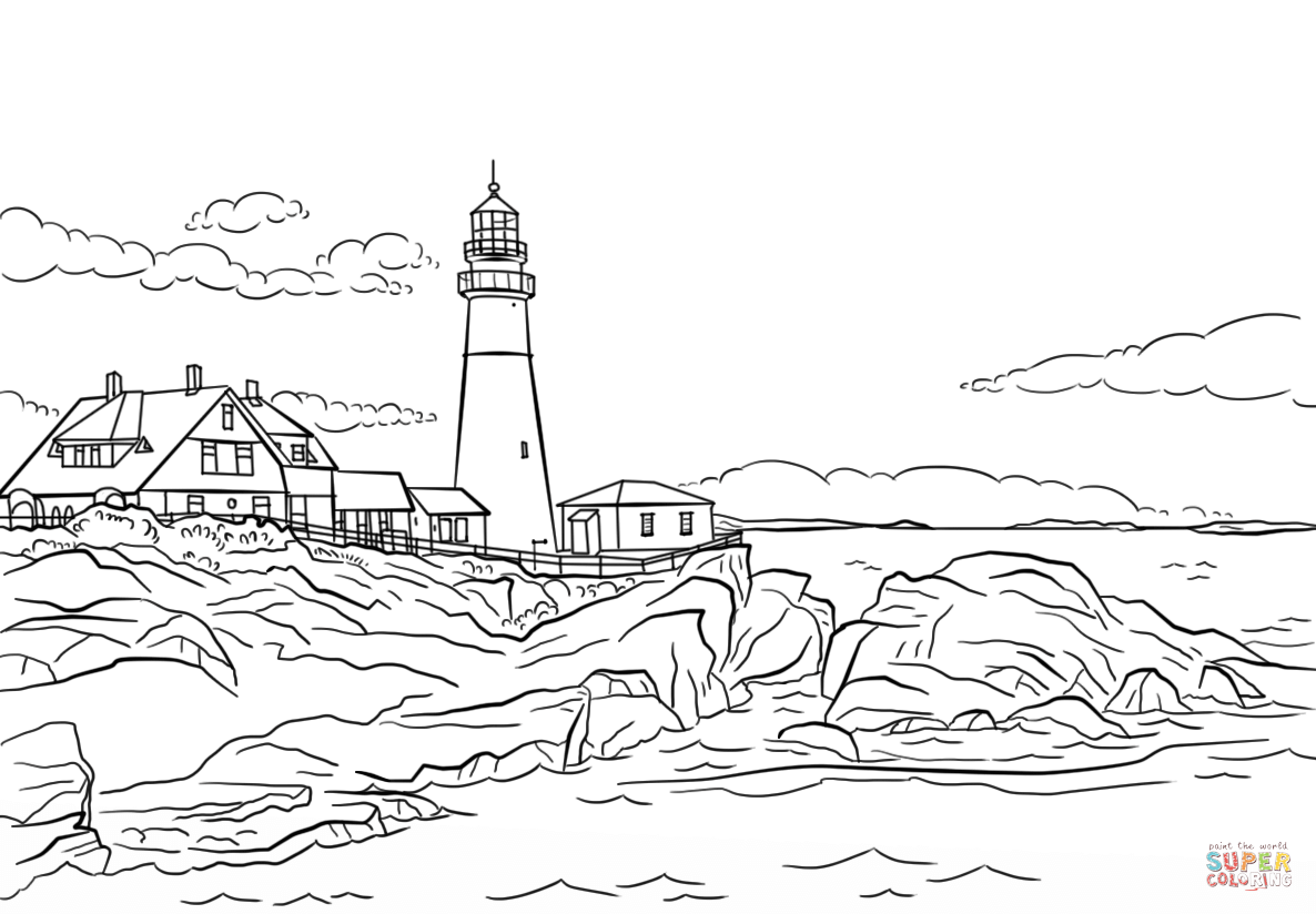 Portland Lighthouse Maine Coloring Page