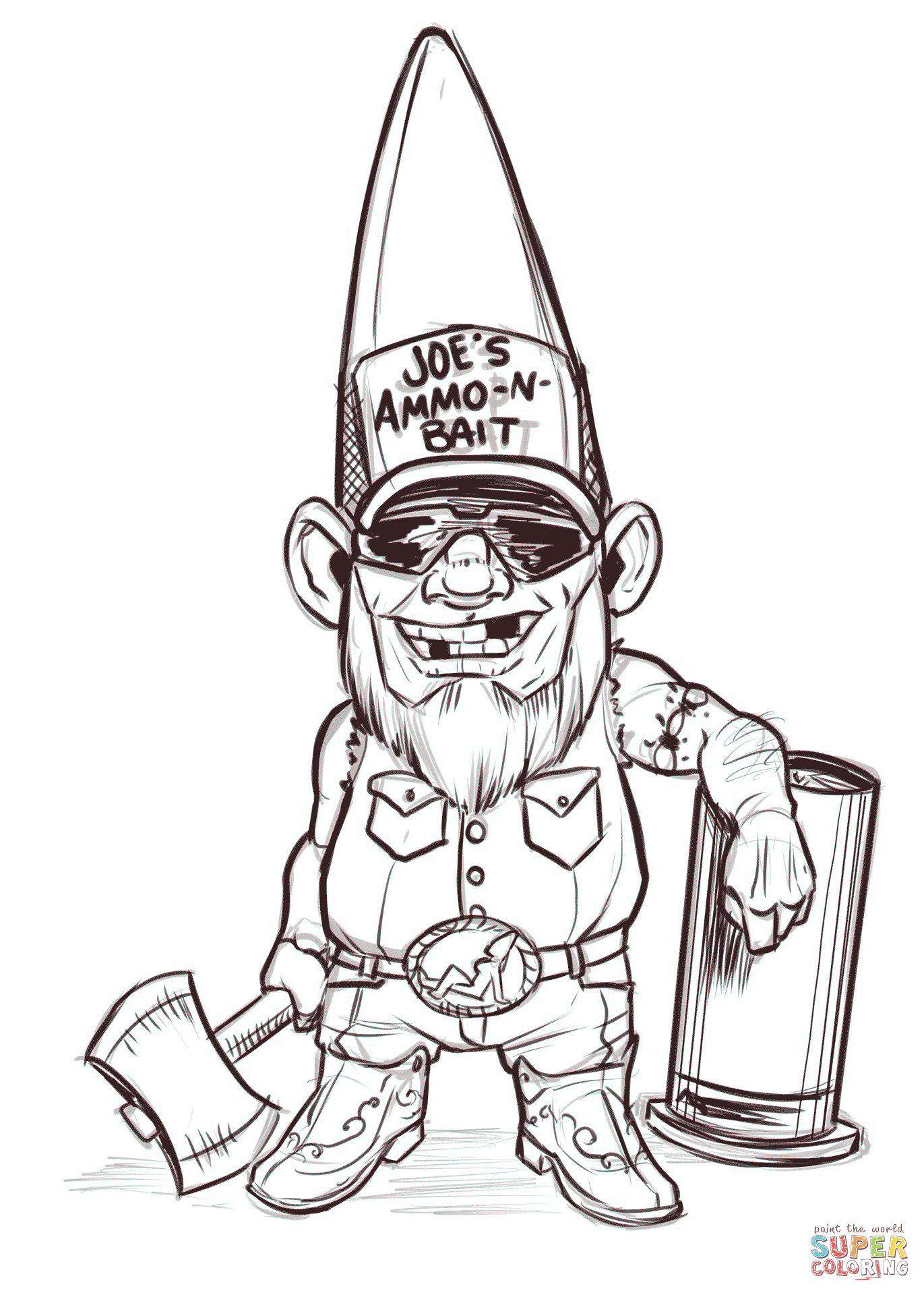 Redneck Gnome Coloring Page