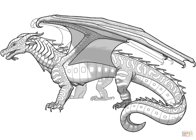 Seawings Dragon from Wings of Fire coloring page  Free Printable
