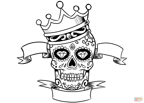 Sugar Skull With Crown Coloring Page Free Printable Pages