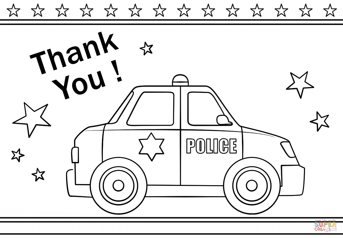 Police Officer Page Thank You Coloring Pages