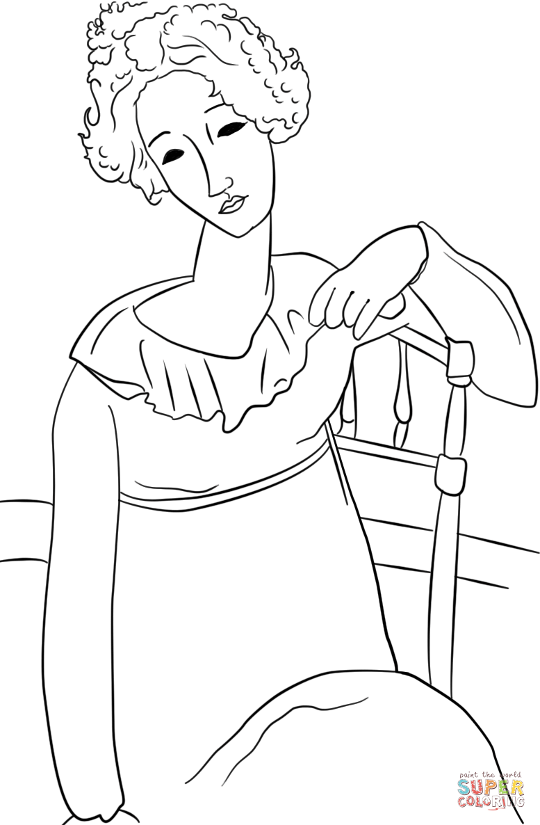 Women with Red Hair by Amedeo Modigliani coloring page