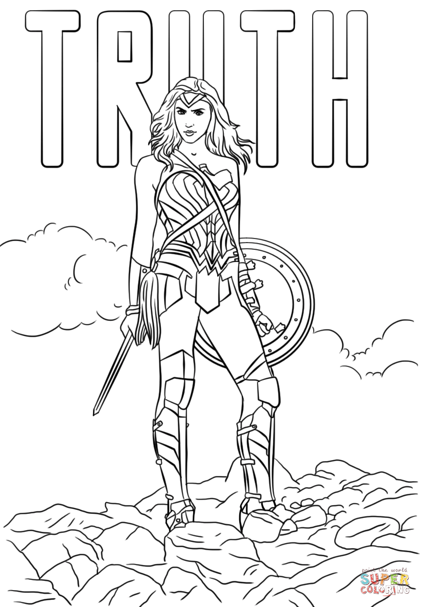Wonder Woman Truth Coloring Page Free Printable Coloring Pages