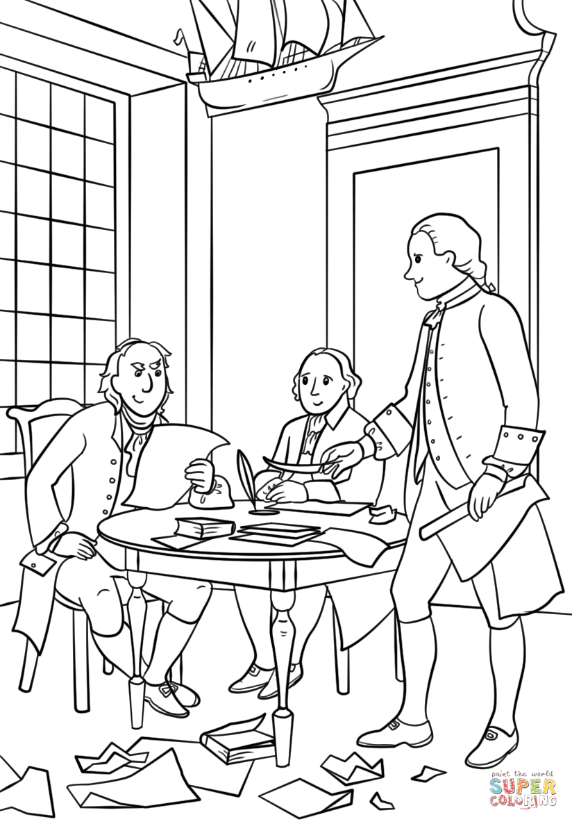 Writing the Declaration of Independence coloring page