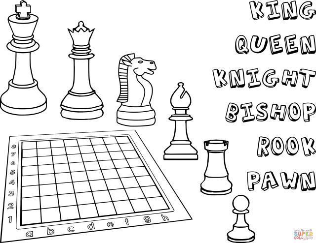 Chess Pieces coloring page  Free Printable Coloring Pages