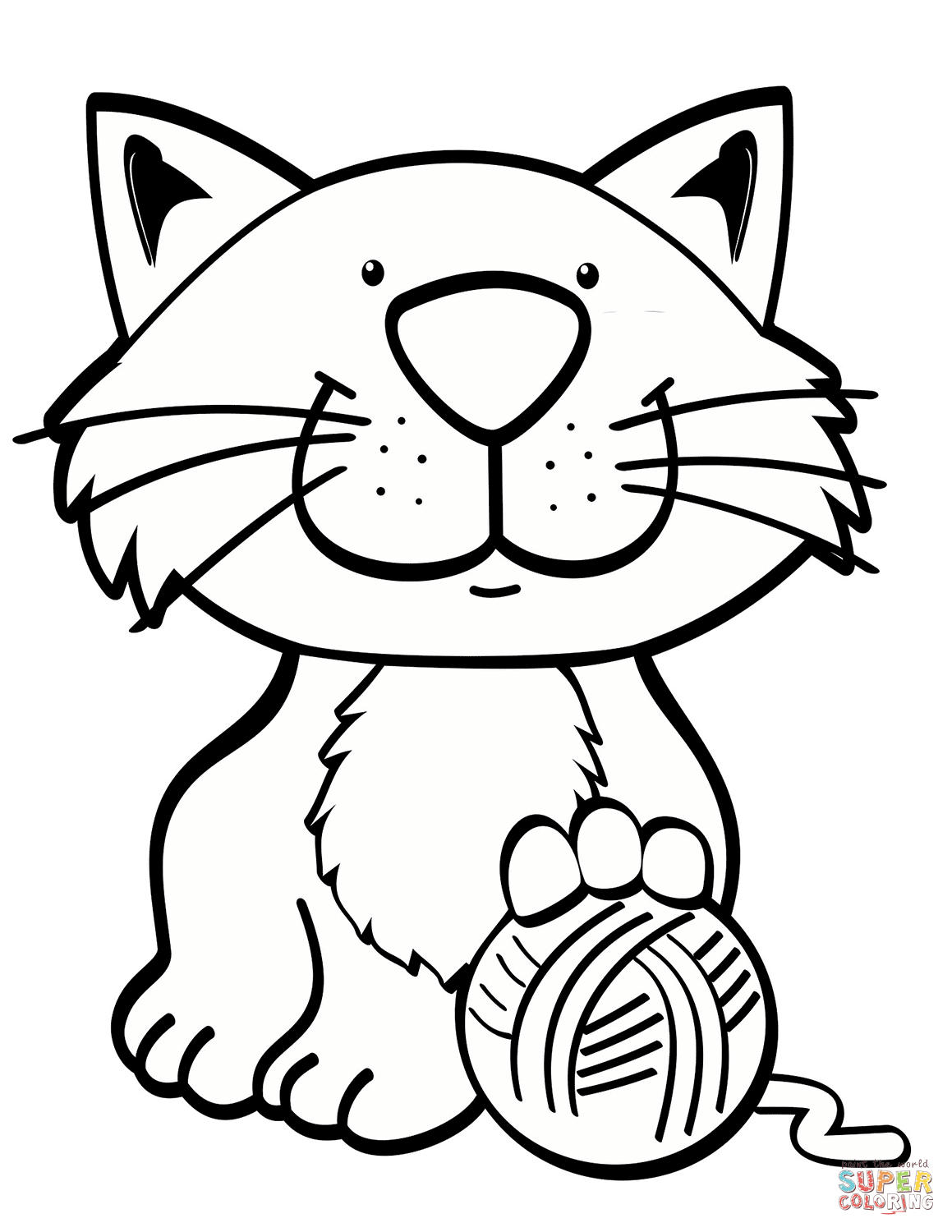 Cat With Yarn Ball Coloring Page Free Printable Coloring Pages