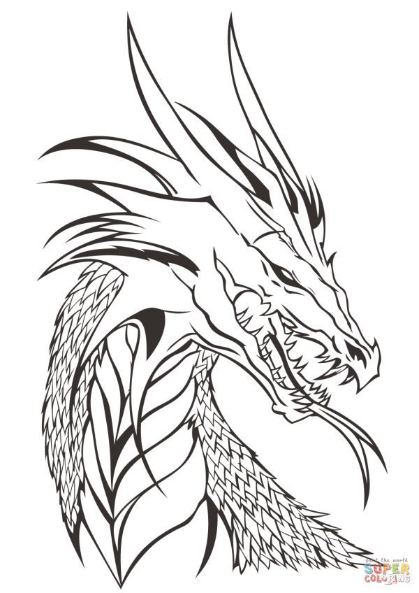 Dragon Head Coloring Page Free Printable Pages