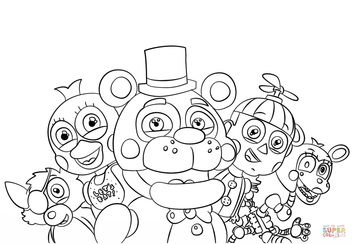 Five Nights At Freddy S All Characters Coloring Page