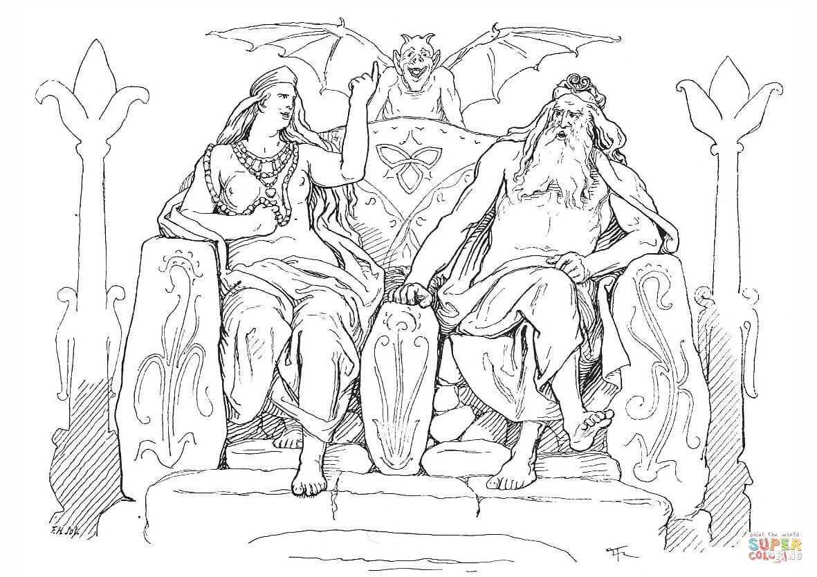 Frigg And Odin In Grimnismal Coloring Page