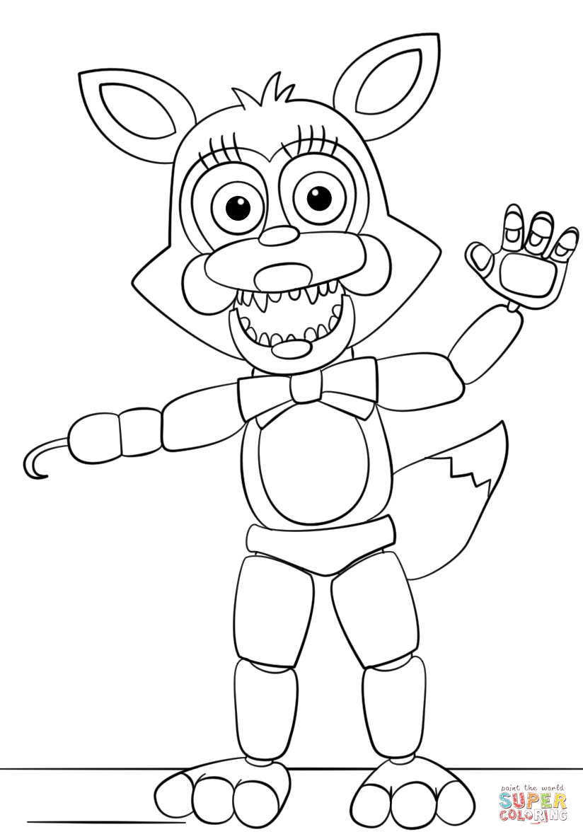 mangle from five nights at freddy's coloring page  free