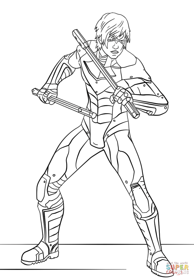 Nightwing from arkham city coloring page free printable