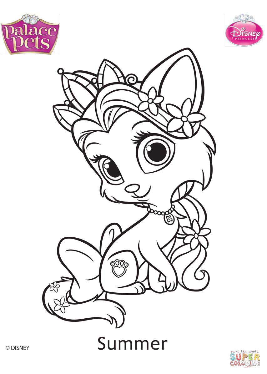 Palace Pets Summer Coloring Page Free Printable Coloring Pages