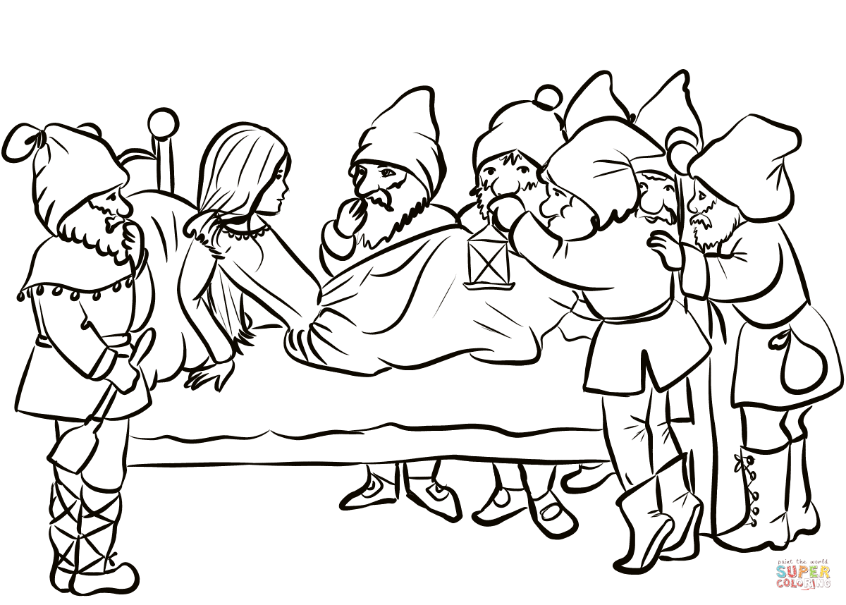 Snow White And Dwarfs Coloring Page
