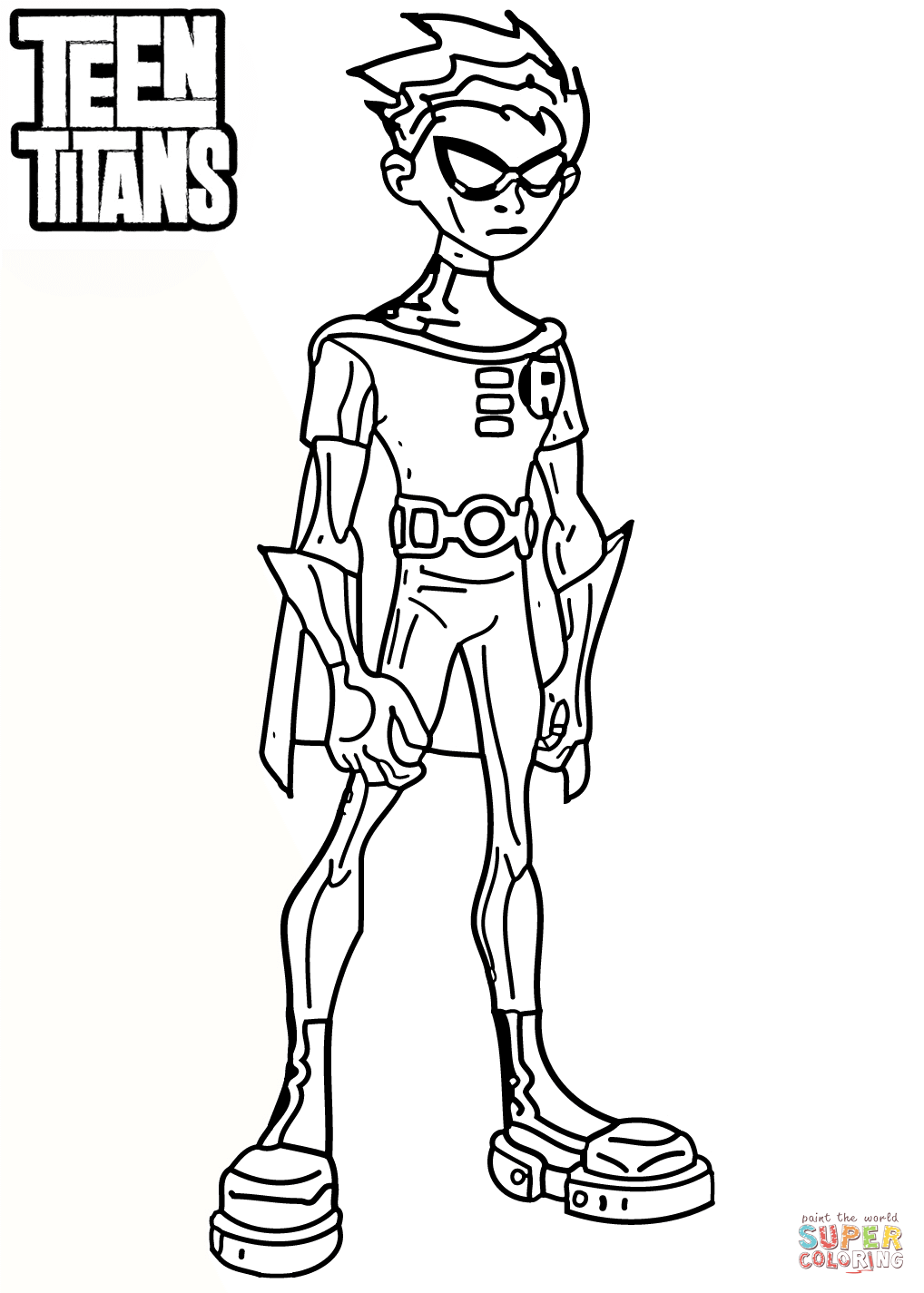 Teen Titans Robin Coloring Page Free Printable Coloring Pages