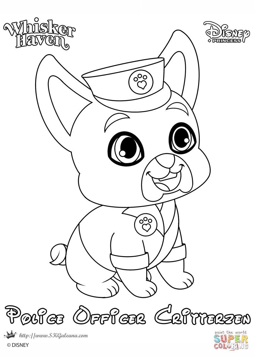 Whisker Haven Police Officer Critterzen coloring page