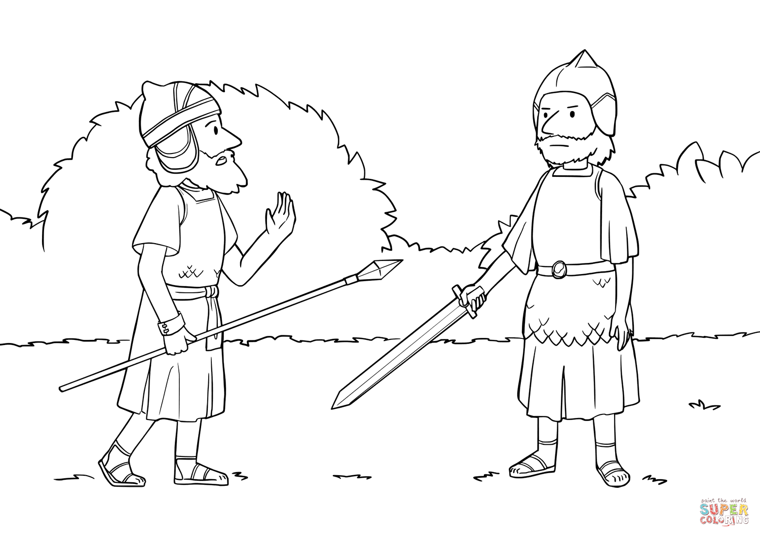 Joshua Meets Commander of the Army of the Lord coloring
