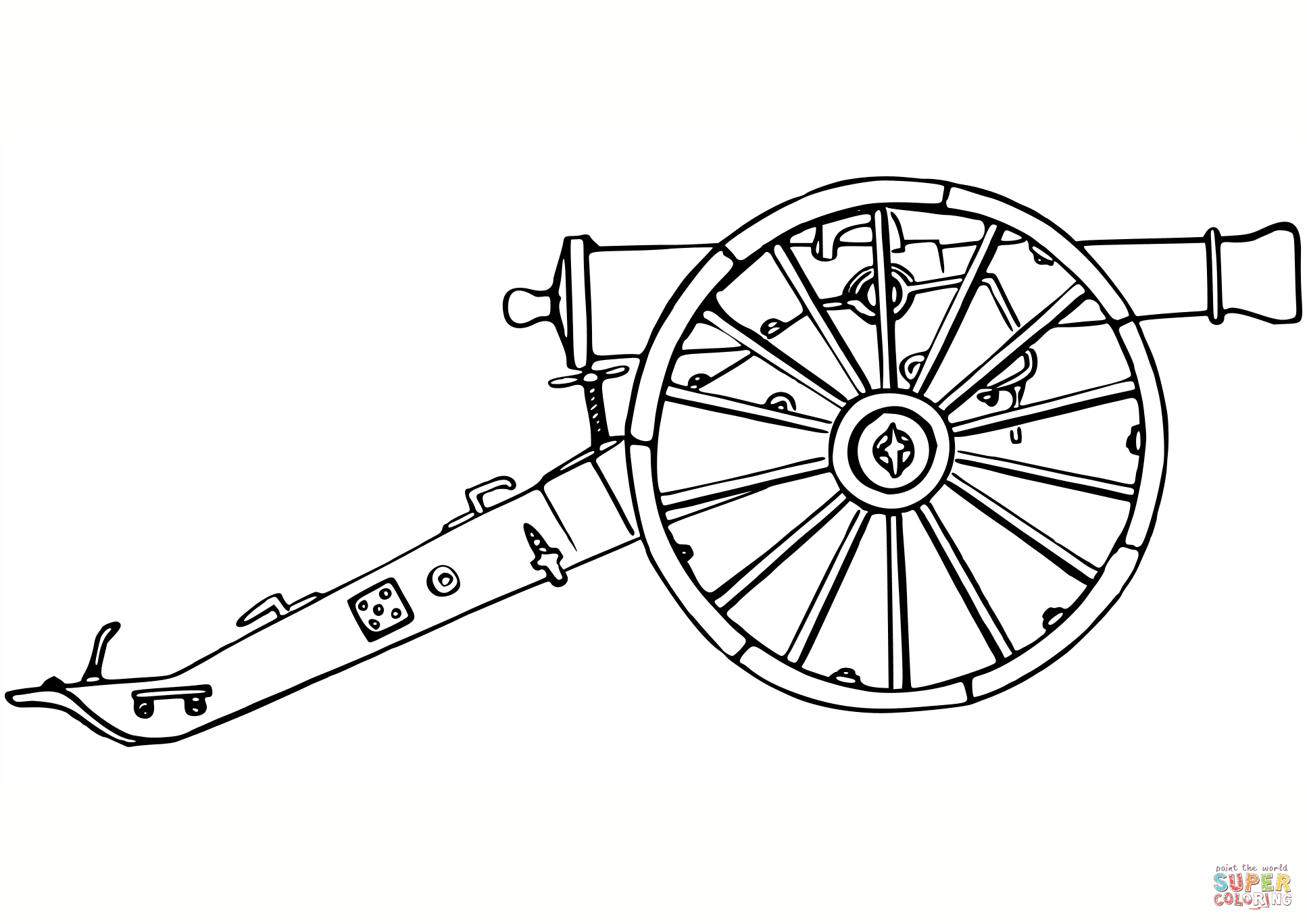 17th Century Cannon Coloring Page