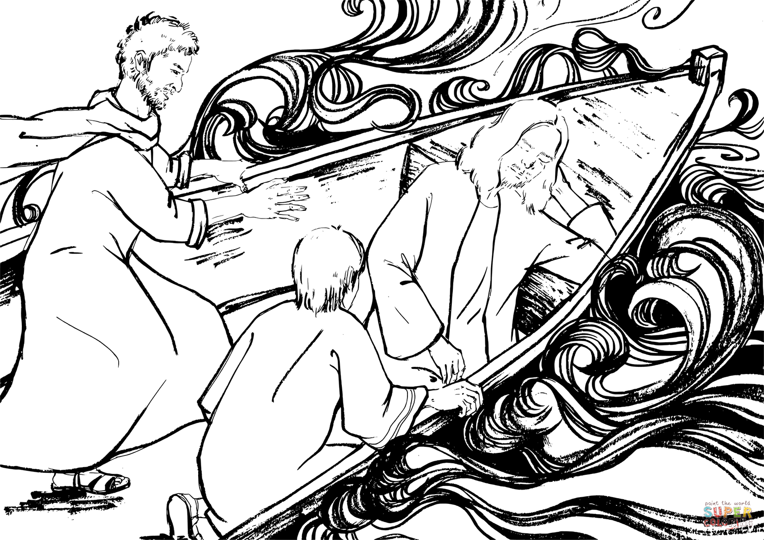 Jesus is Sleeping on a Boat During the Storm coloring page