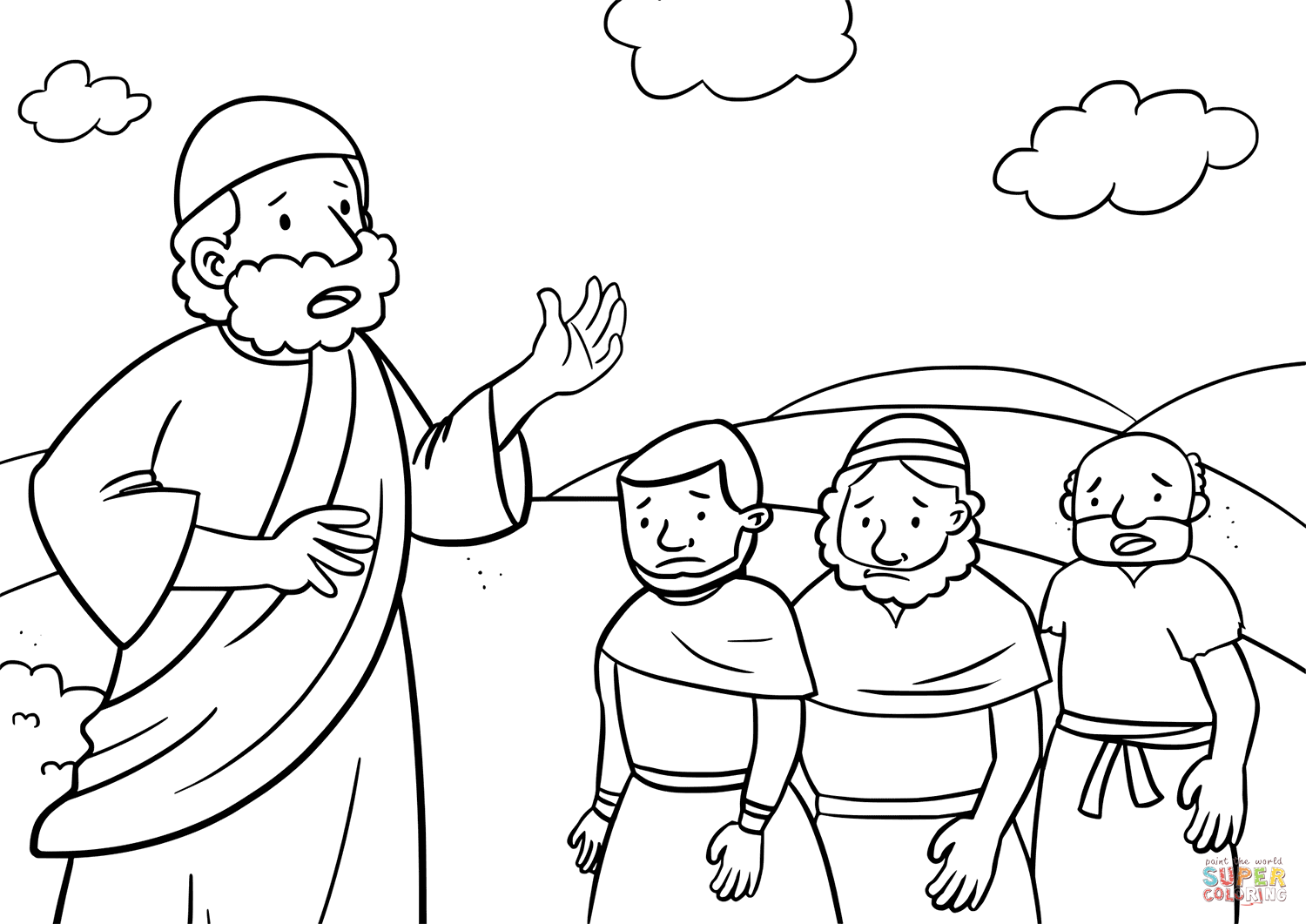 Moses Tell the Israelites Not to Go to the Hill coloring