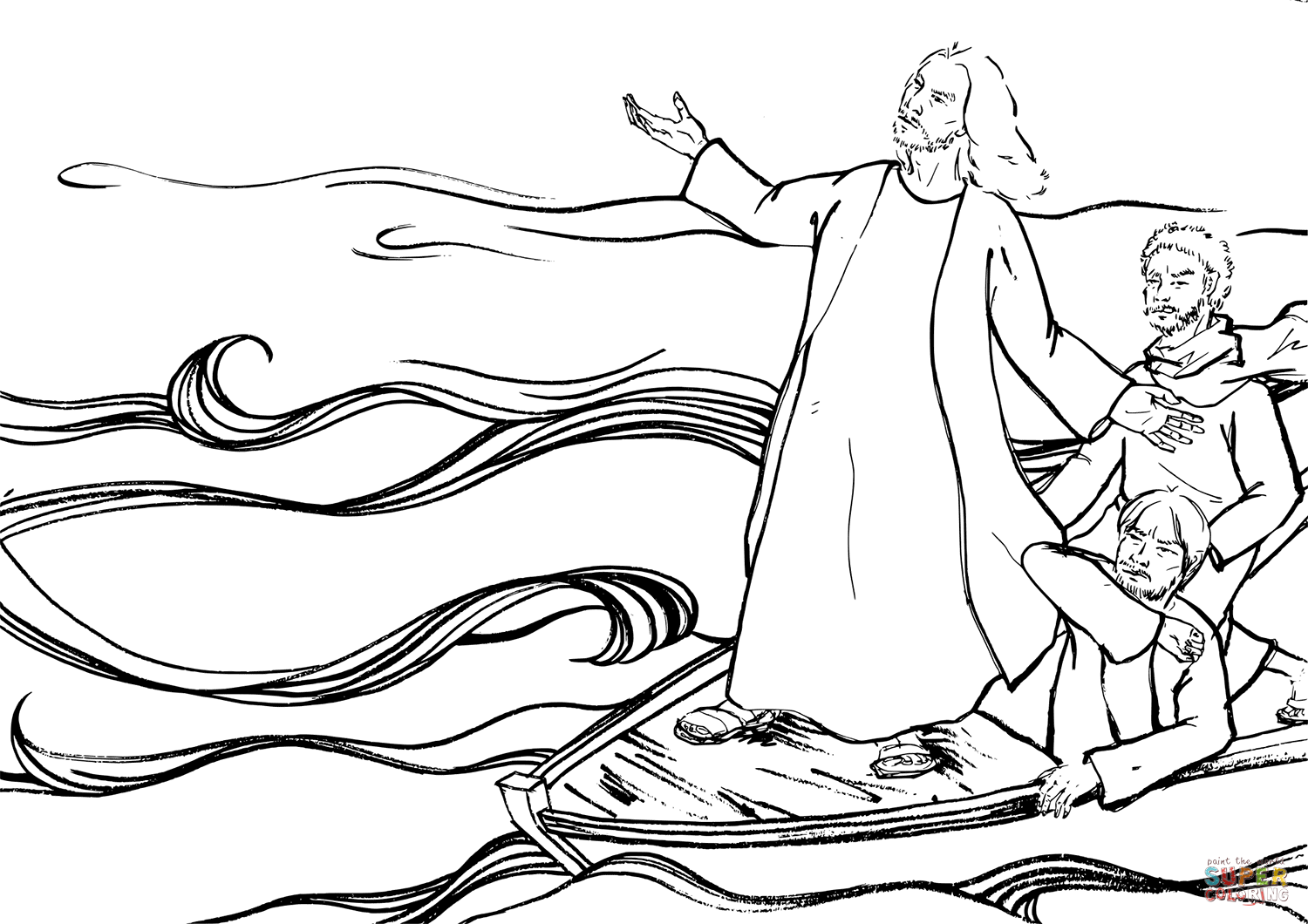 Jesus Tell The Waves To Be Quiet Coloring Page Free Printable