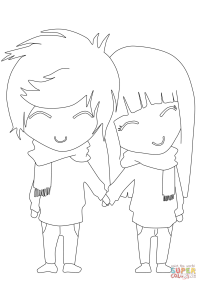 Anime Boy and Girl coloring page | Free Printable Coloring ...