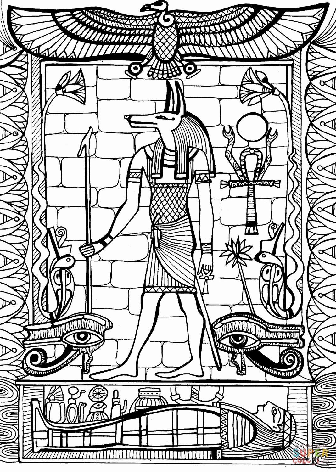Anubis God Of Ancient Egypt Coloring Page