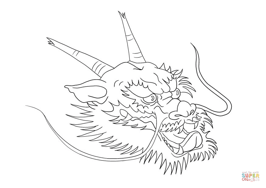 Dragon Head Tattoo Coloring Pages