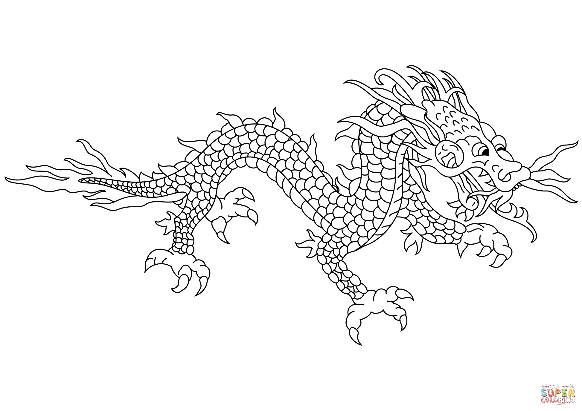 Asian Dragon Coloring Pages