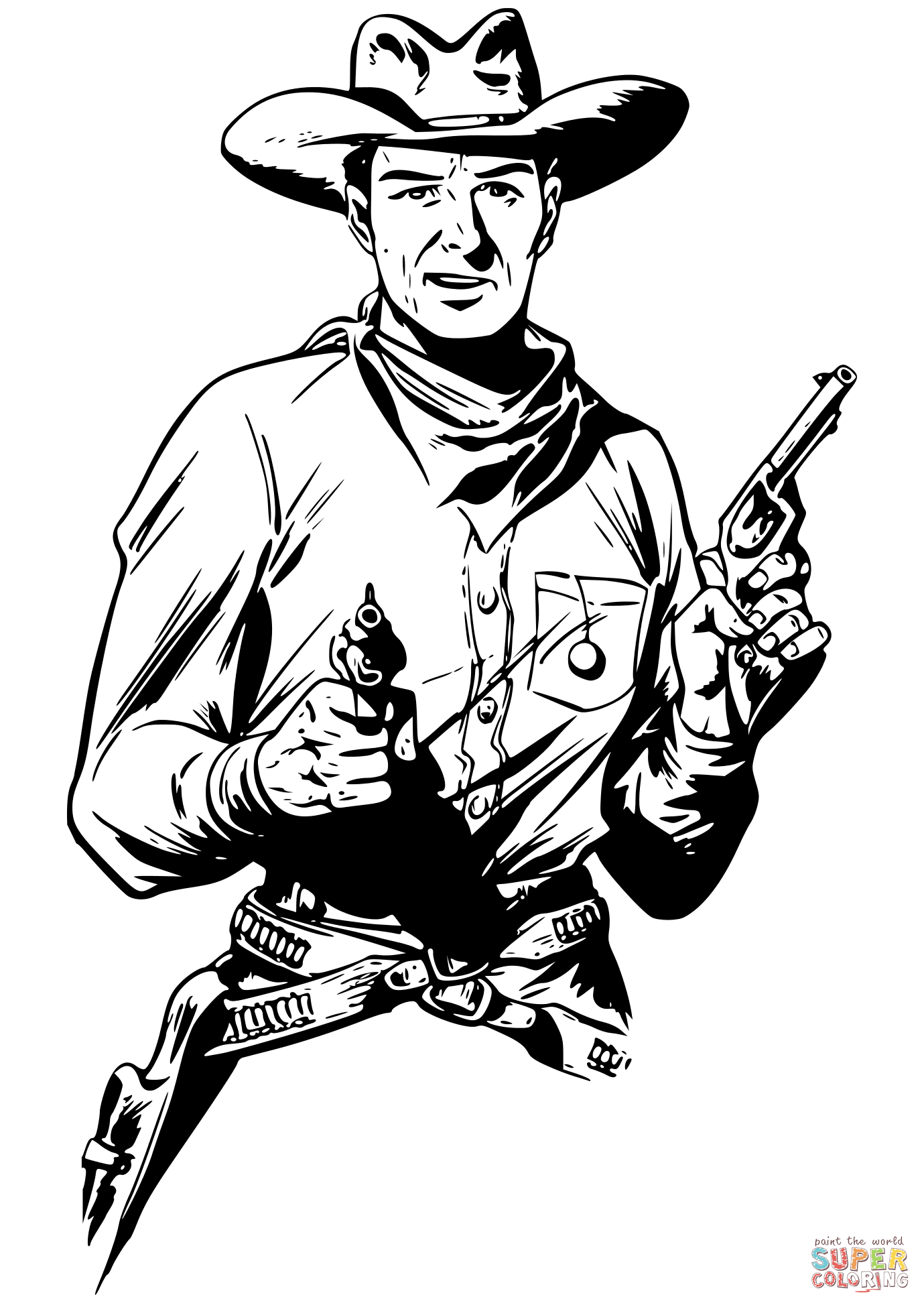 Cowboy With Two Guns Coloring Page