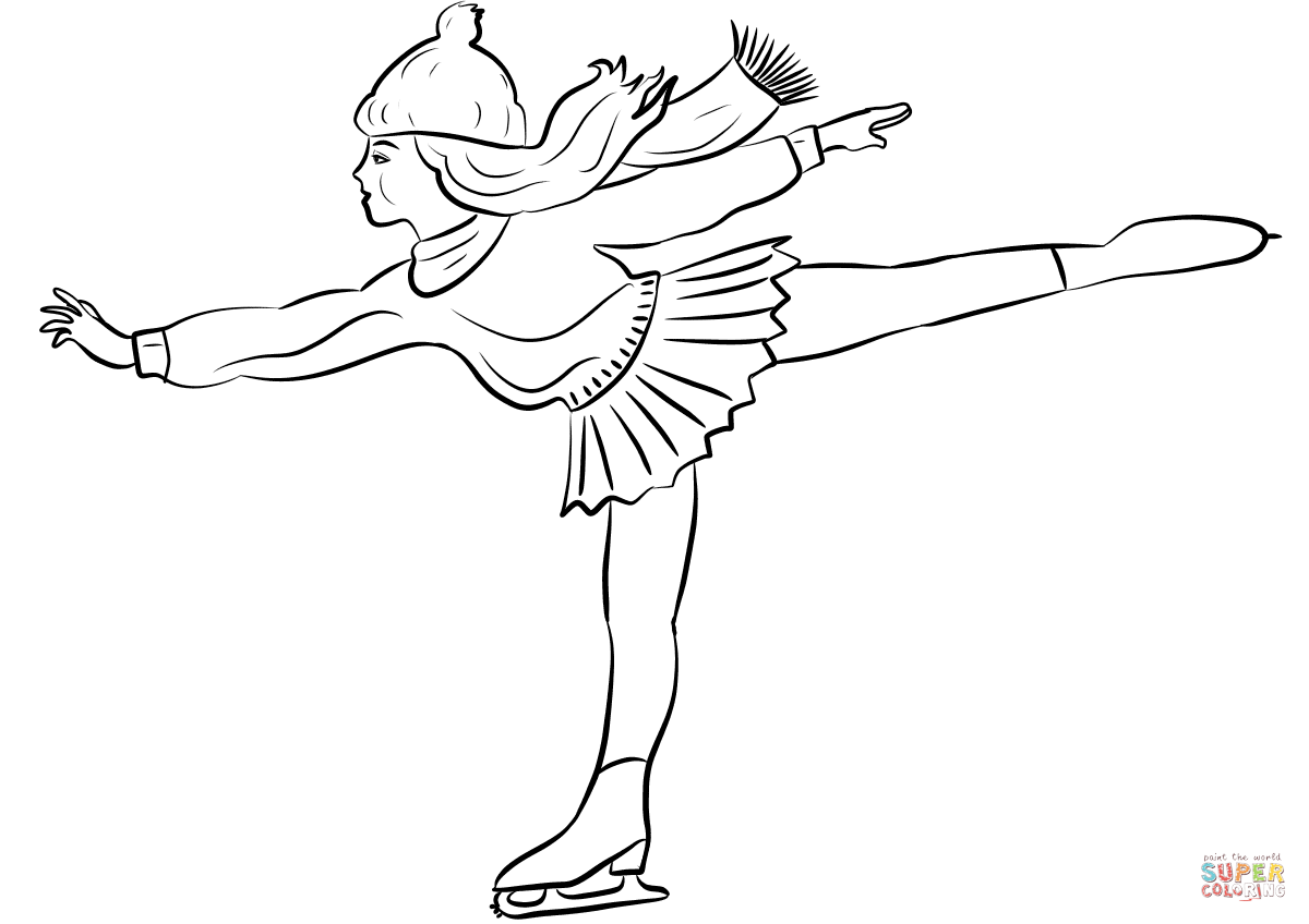 Figure Skater Girl coloring page Free Printable Coloring