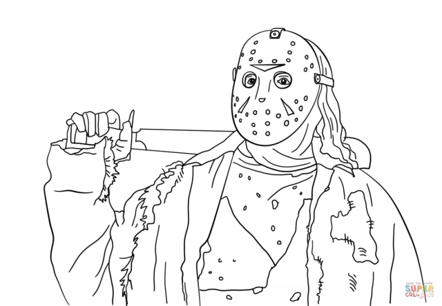 Friday the 25th Jason coloring page  Free Printable Coloring Pages