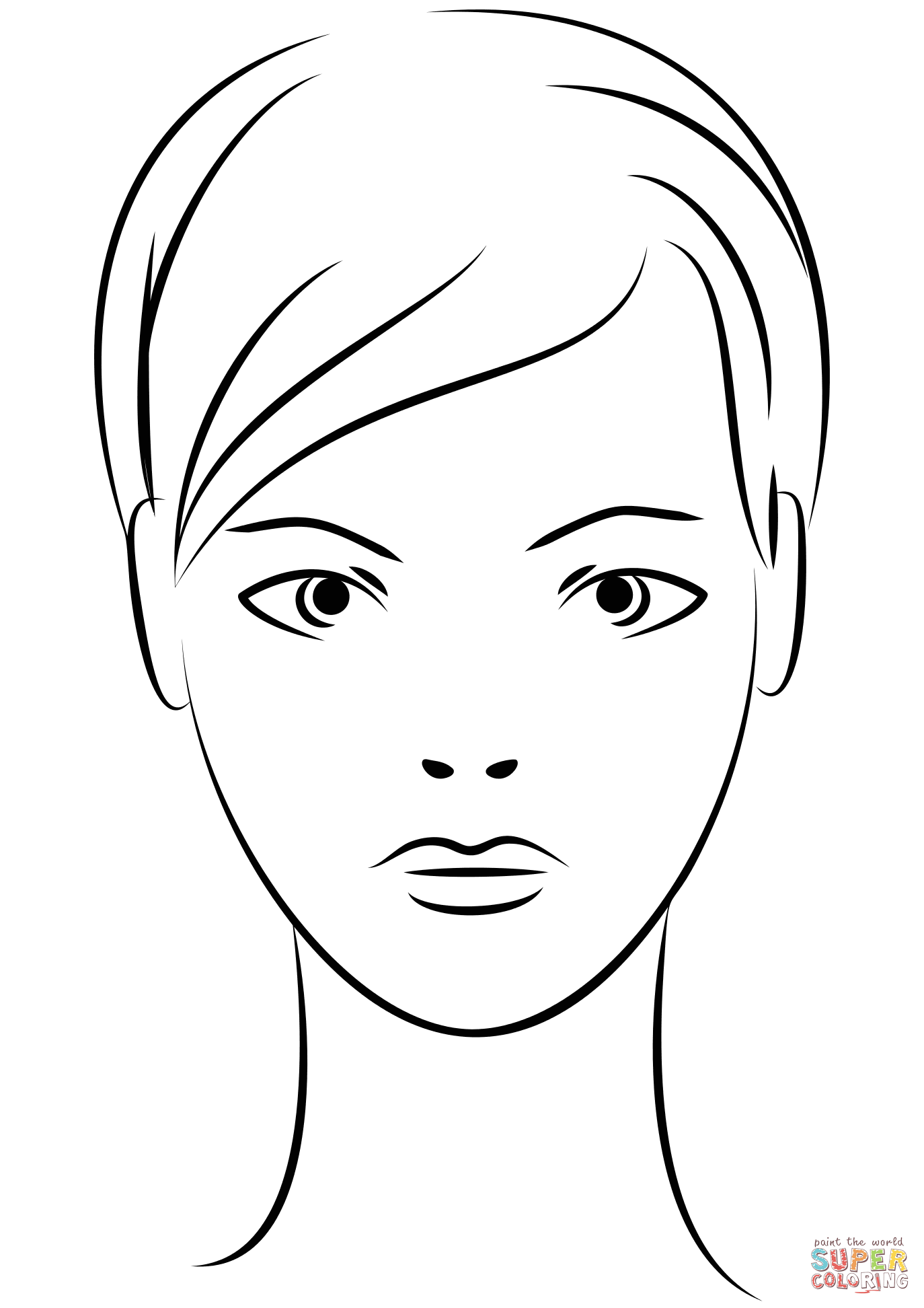 Young Woman Face Coloring Page Free Printable Coloring Pages