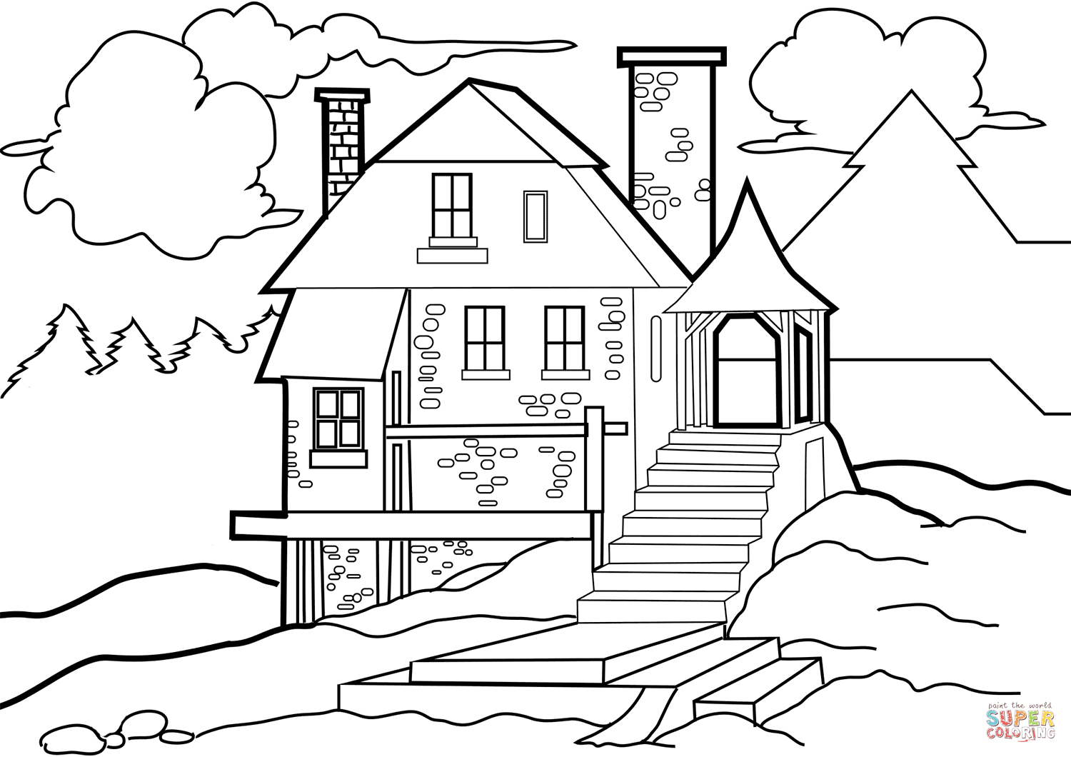 House In The Wilderness Coloring Page
