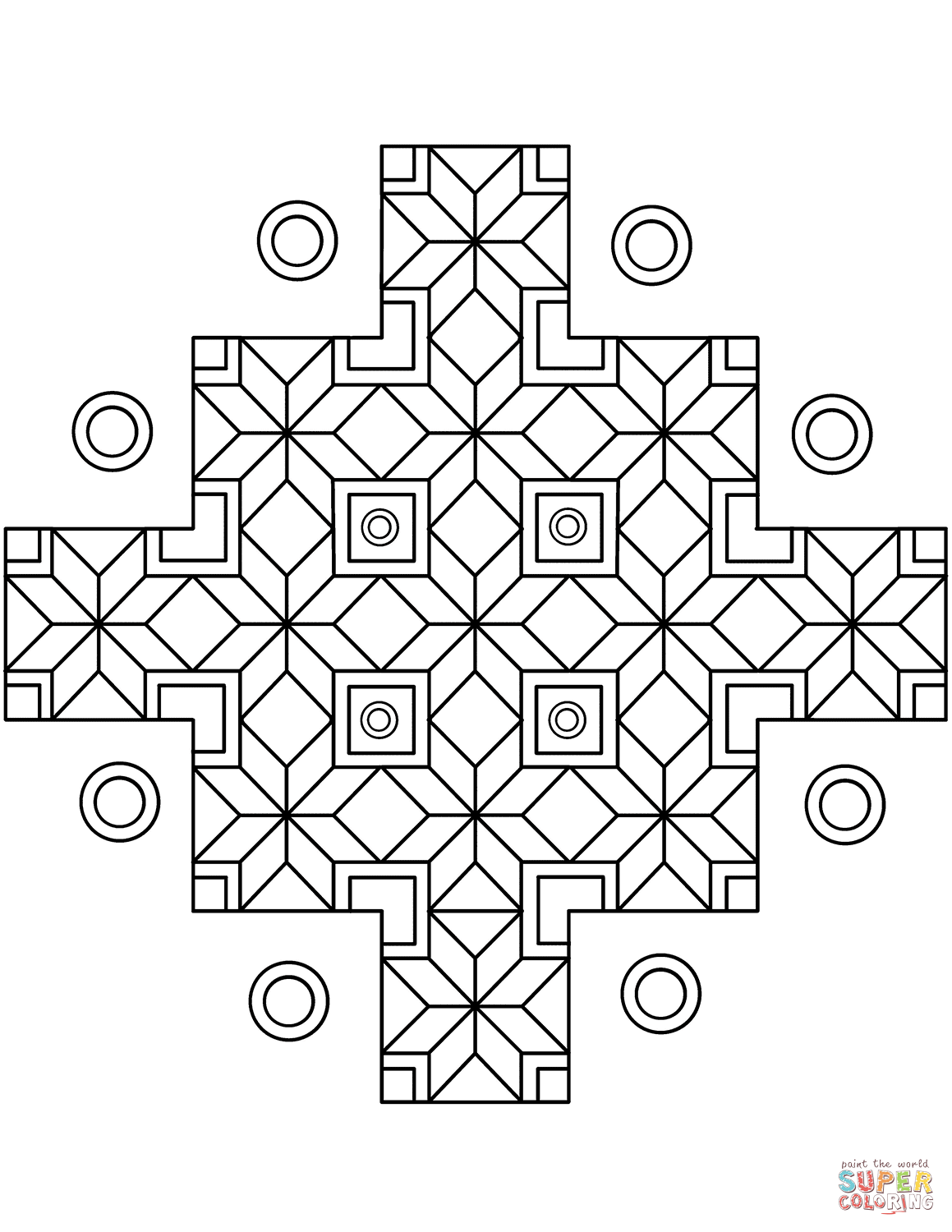 Indian Geometric Pattern Coloring Page