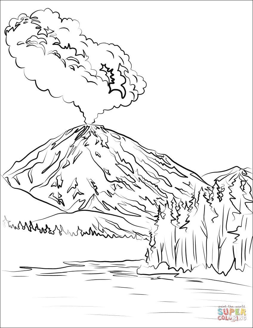 Lassen Peak Volcano Eruption Coloring Page Free Printable