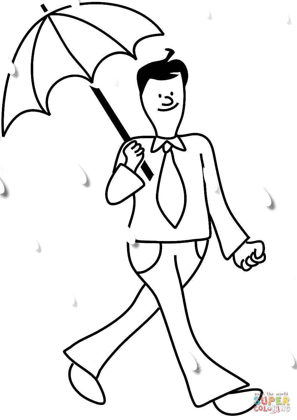 Man With Umbrella In Rain Coloring Page Free Printable Coloring