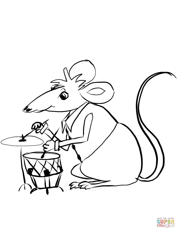 Dibujo de El ratón toca los tambores para colorear