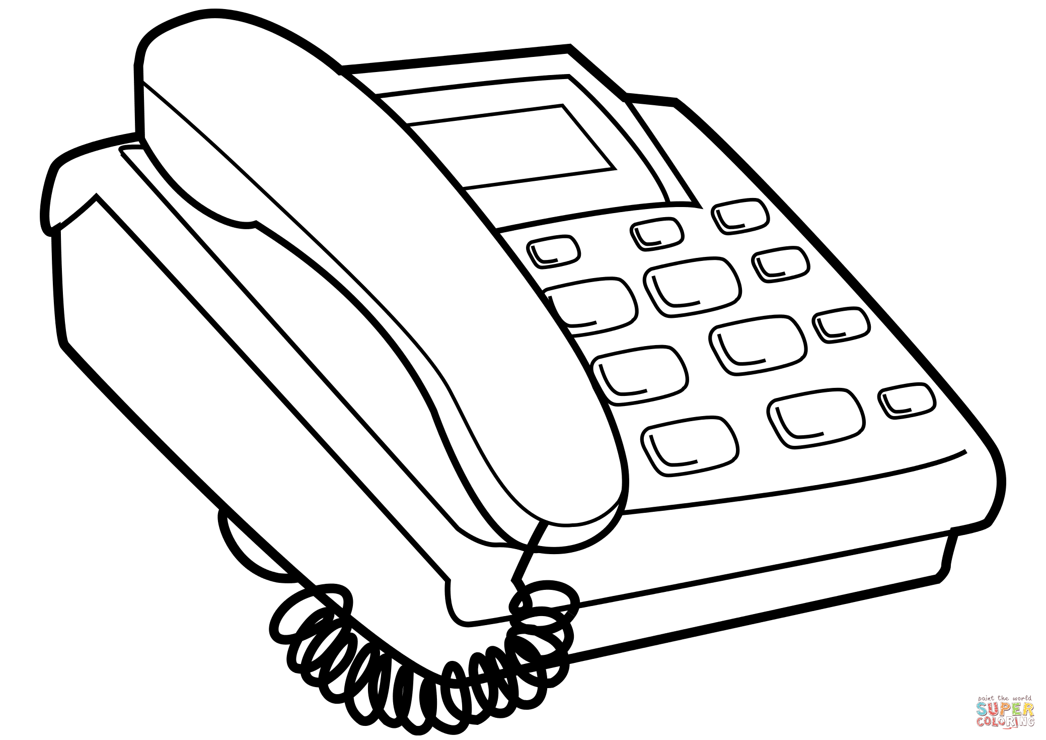 Push Button Telephone Coloring Page