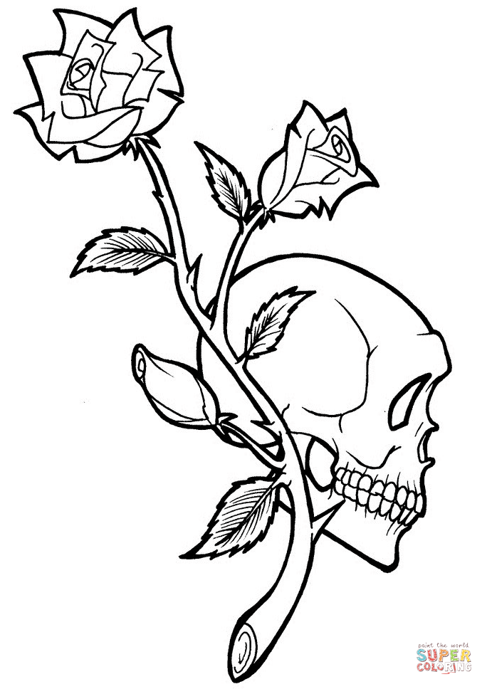rose and skull tattoo coloring page  free printable