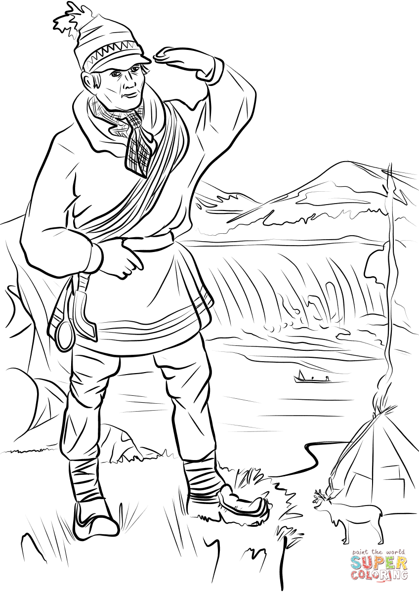 Sami Man In Lapland Coloring Page Free Printable