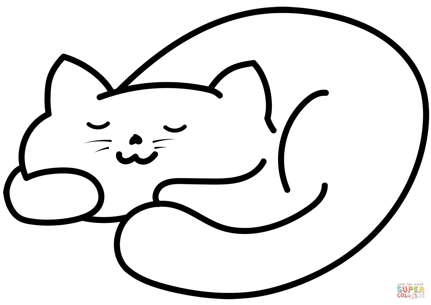 Sleeping Cat Coloring Page Free Printable Coloring Pages