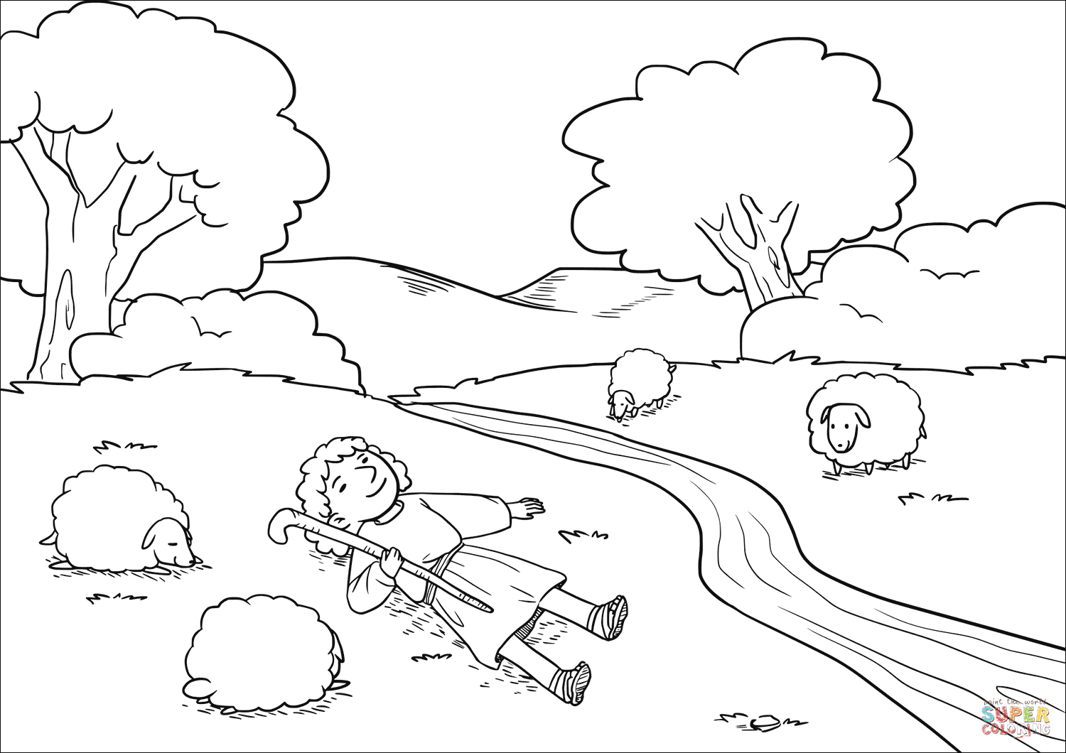 The Lord makes me lie down in green pastures coloring page
